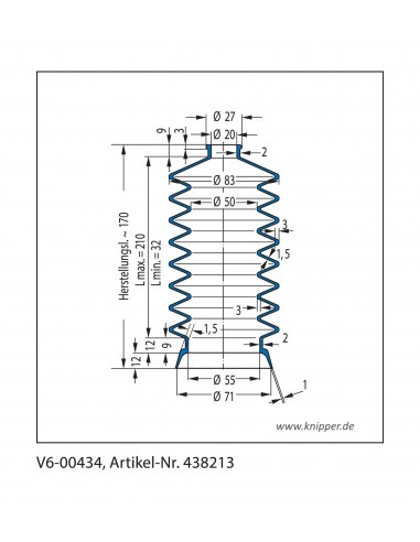Vouwbalg V6-00199 CFW Simrit Simrit V6-standaard programma