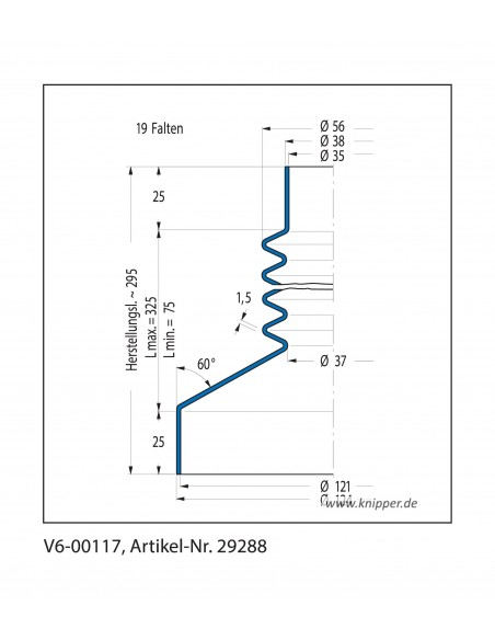 Vouwbalg V6-00053 CFW Simrit Simrit V6-standaard programma