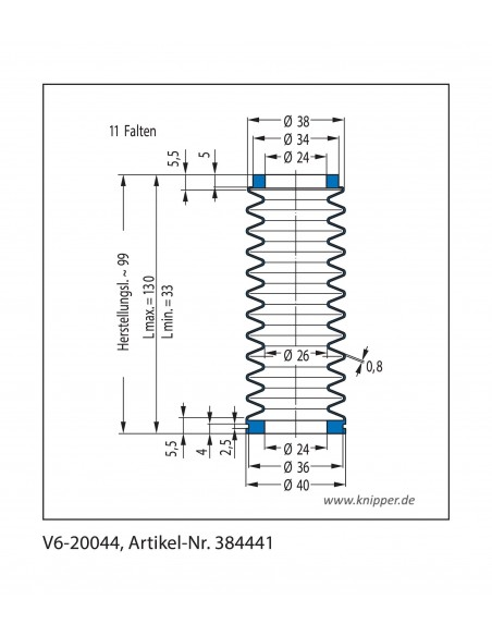 Protection Bellow V6-20044 CFW Simrit Simrit V6-standard range