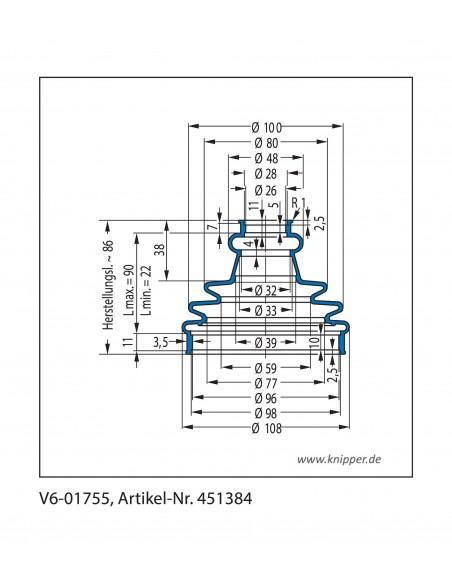 Soffietto V6-01755 CFW Simrit Simrit V6-programma standard v