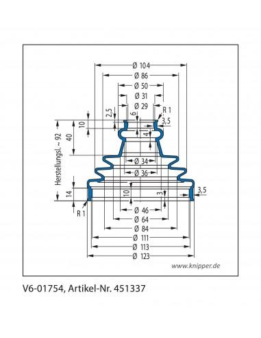 Soffietto V6-01754 CFW Simrit Simrit V6-programma standard v