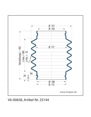 Soffietto V6-00658 CFW Simrit Simrit V6-programma standard v