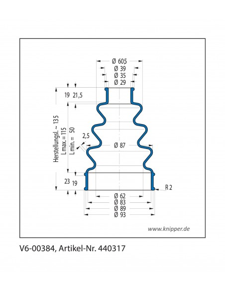 Soffietto V6-00384 CFW Simrit Simrit V6-programma standard v