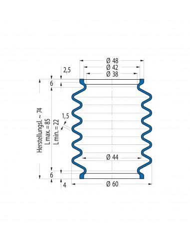 Vouwbalg V6-00268 42 CR 764 CFW Simrit Simrit V6-standaard programma