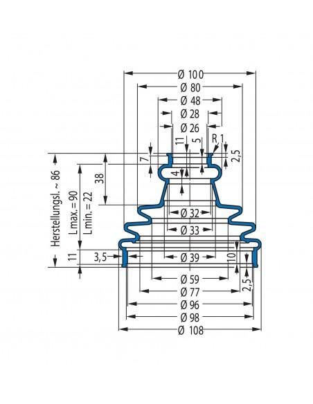 Protection Bellow V6-01755 CFW Simrit Simrit V6-standard range